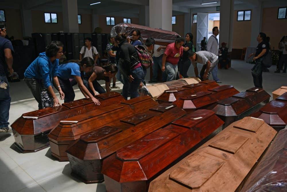 Guatemala landslide coffins.