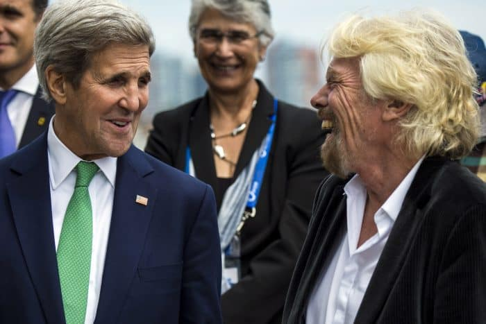 U.S. Secretary of State John Kerry, left, and English businessman Richard Branson before the Easter Island announcement.