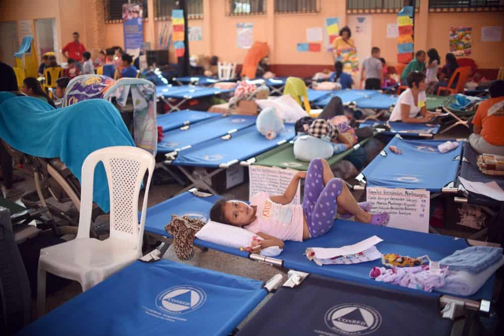 evacuees at shelter