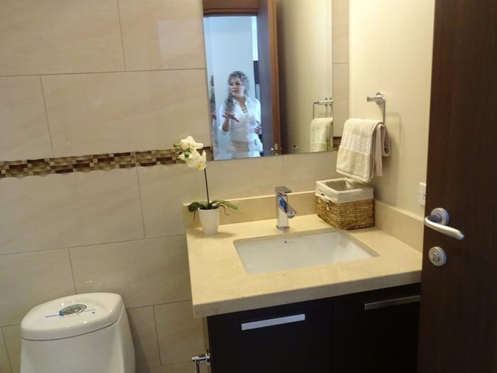 Bathroom of model condo.