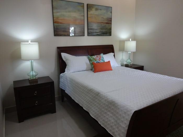 Bedroom in model condo.