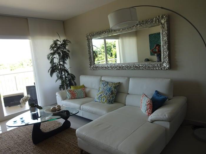 Living room of model condo.