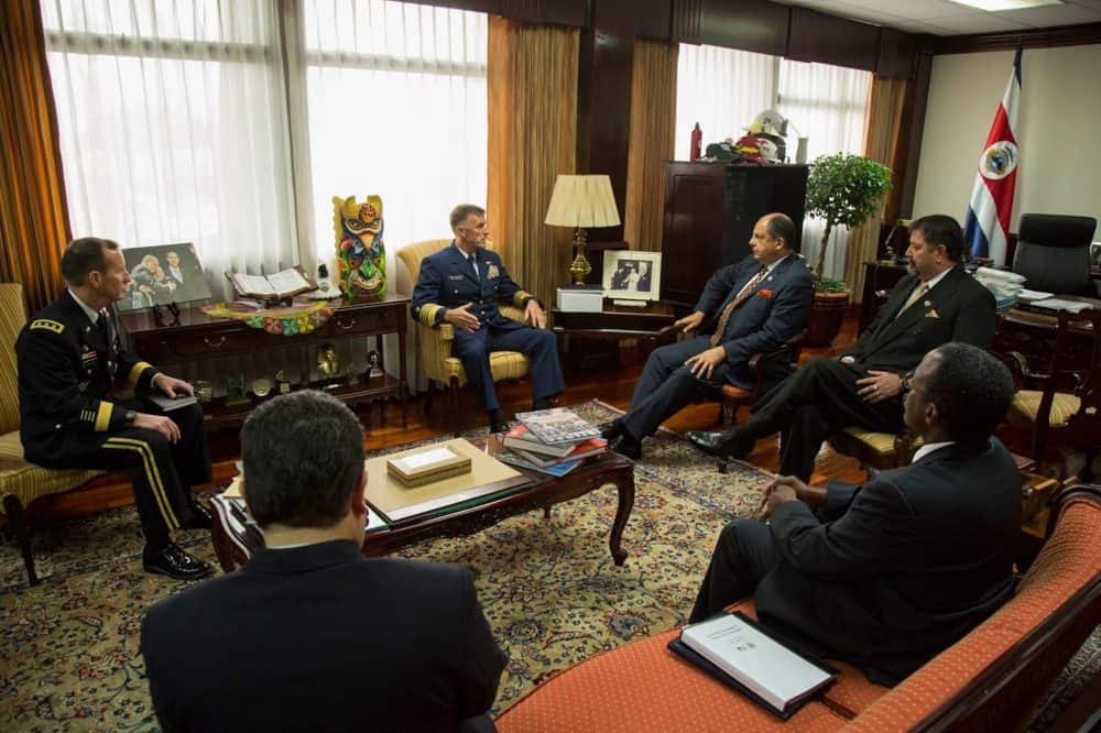 President Luis Guillermo Solís and U.S. officials