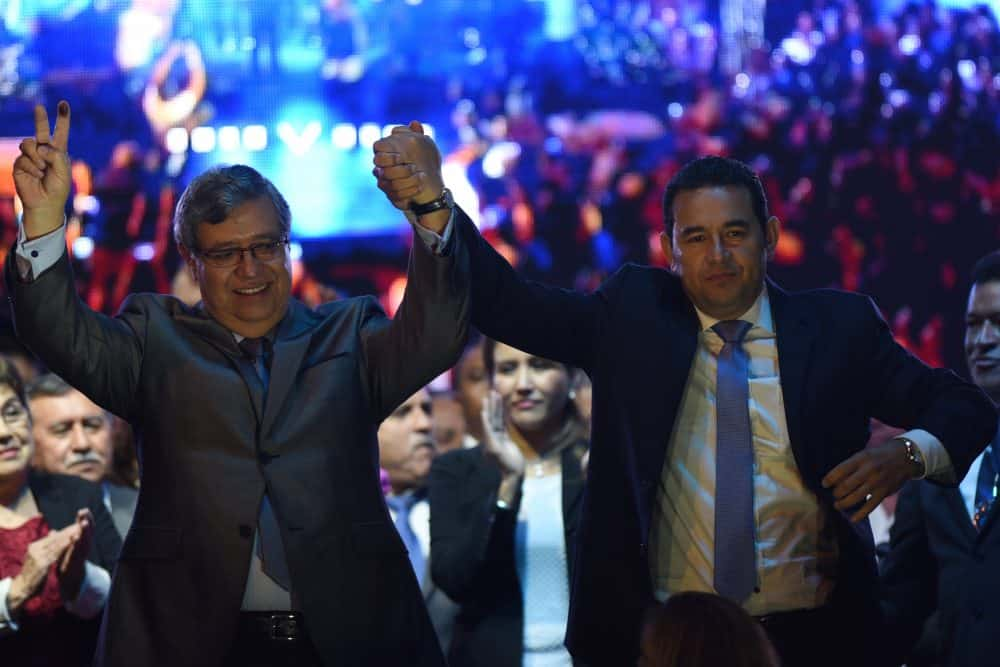 Jimmy Morales (right) and Jafeth Cabrera