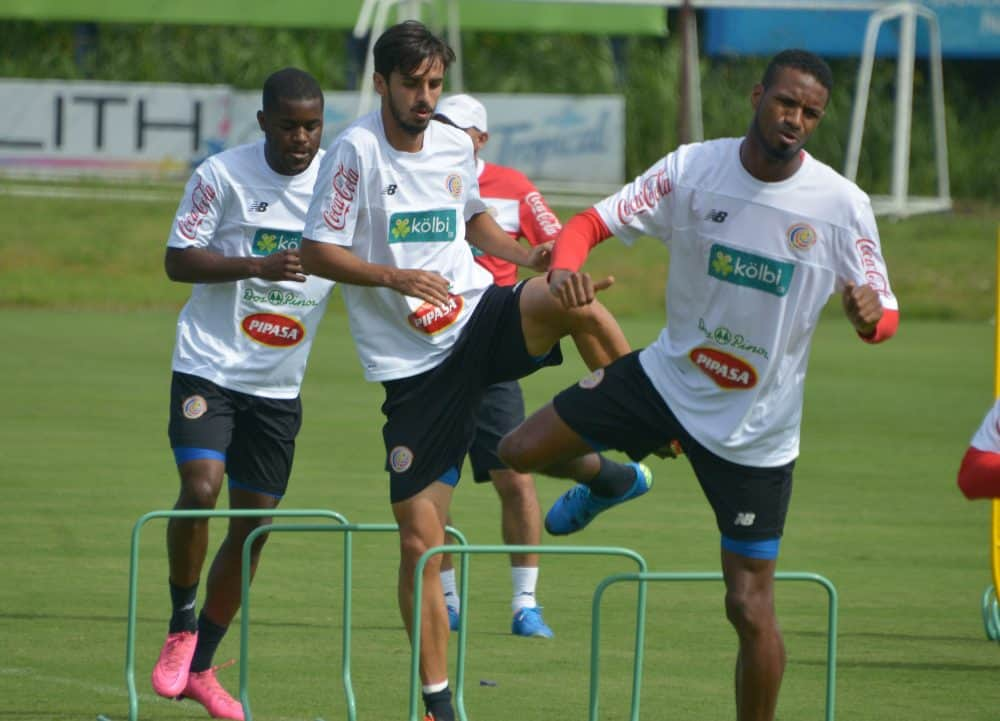 Costa Rica football players Joel Campbell, Bryan Ruiz and Dave Myrie