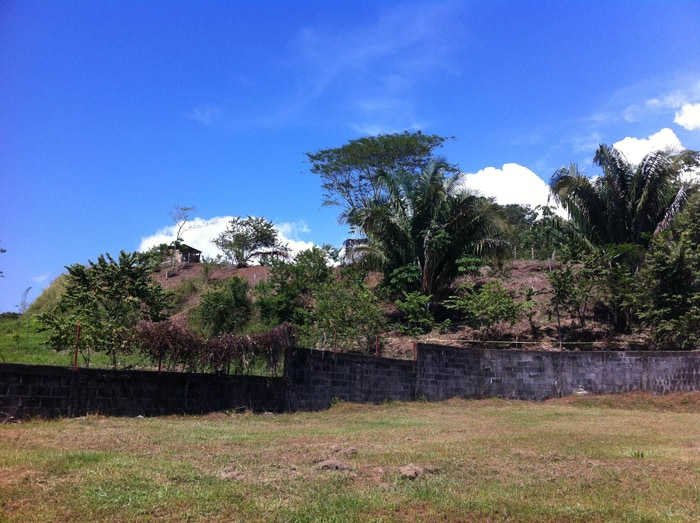 Squatters' shacks on a hillside in Esterillos Oeste.