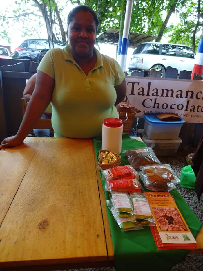 Viviana Salazar López at her chocolate booth.