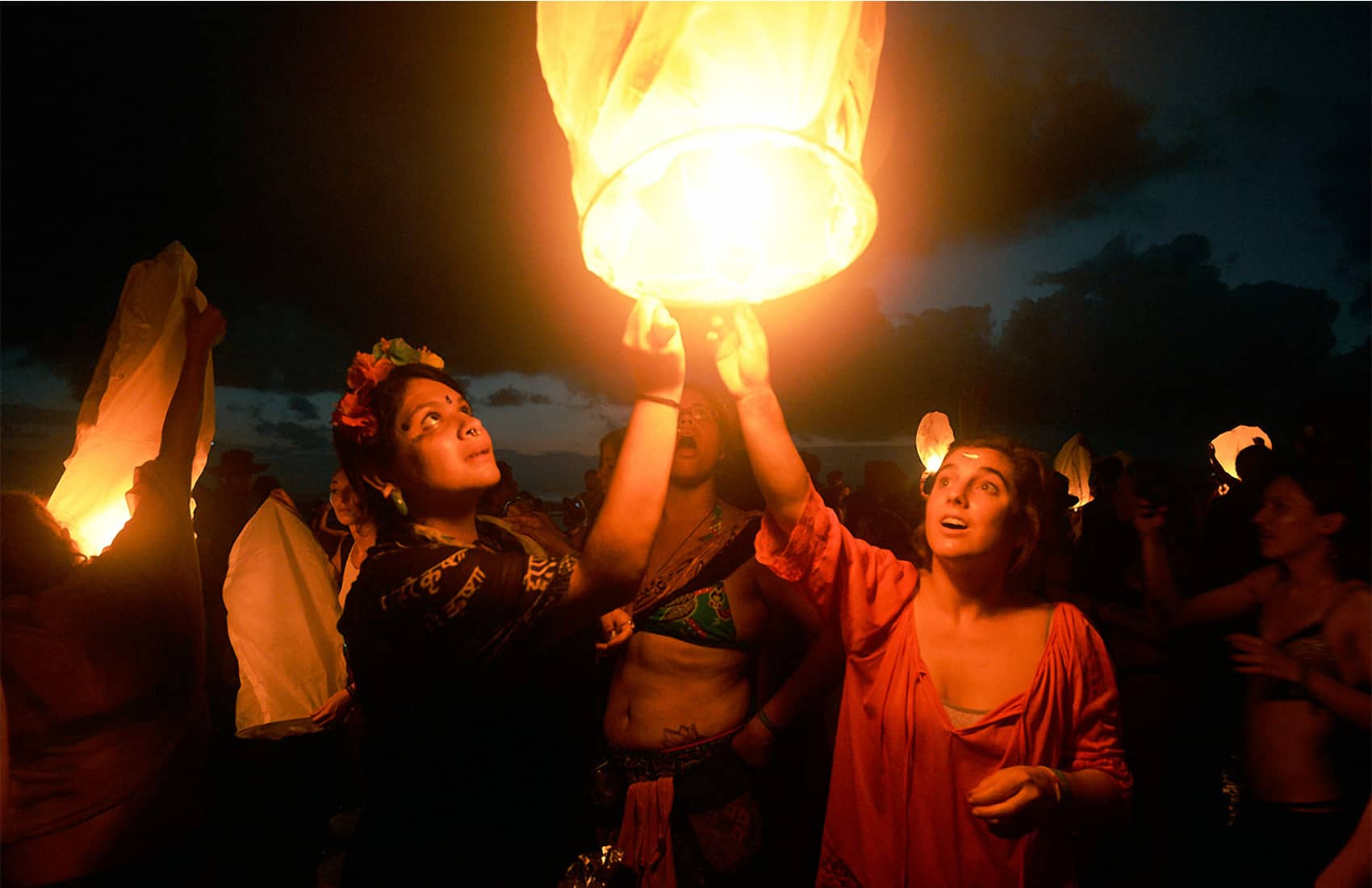 Sky lanterns at Envision Festival