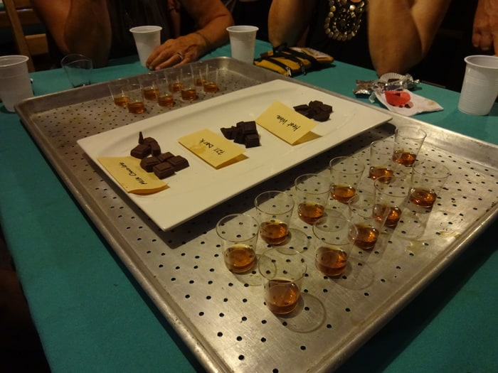 Chocolate paired with liquor at the Puerto Viejo Chocolate Festival.