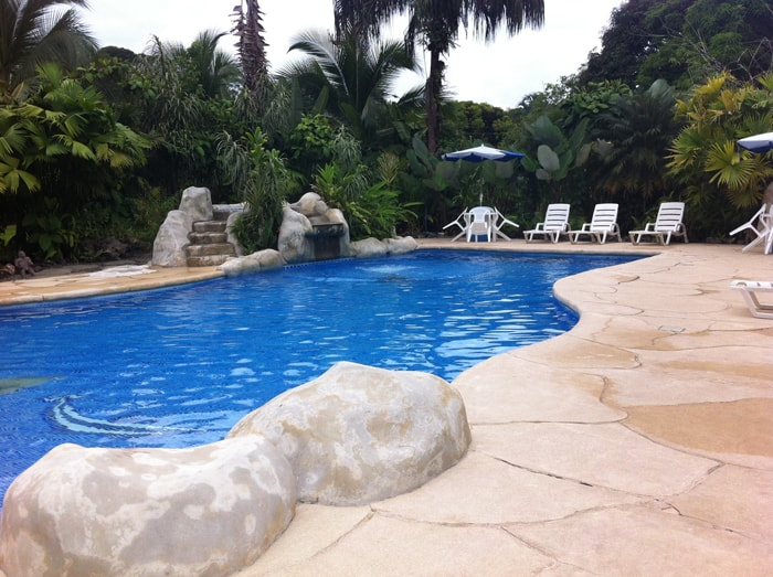 Swimming pool at Casa Verde Lodge in Puerto Viejo.