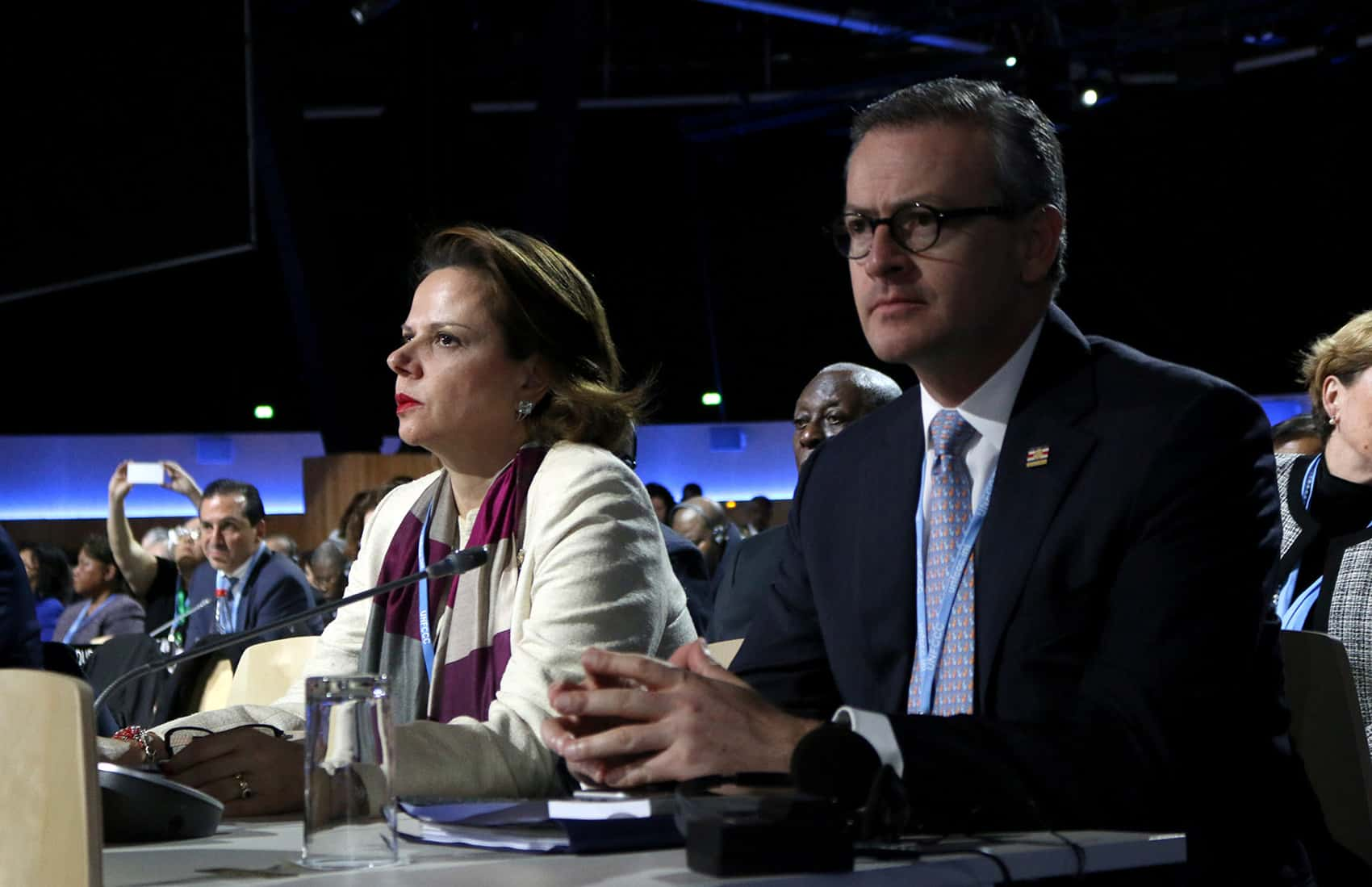 Vice President Ana Helena Chacón (left) and Foreign Minister Manuel González at the U.N. Climate Change Conference
