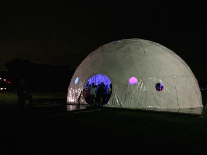 The dome at night at Centro de Eventos Pedregal.