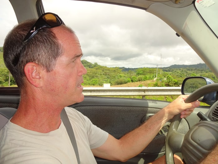 The author drives the family from Lake Arenal to La Fortuna Waterfall.