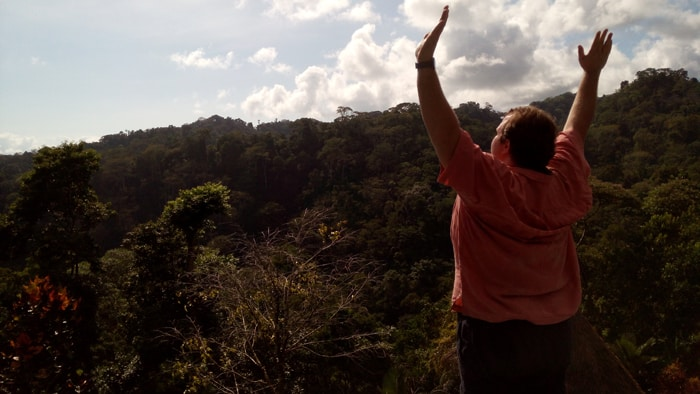 Jordan exults in the view from our room at Luna Lodge in Costa Rica's Osa Peninsula.