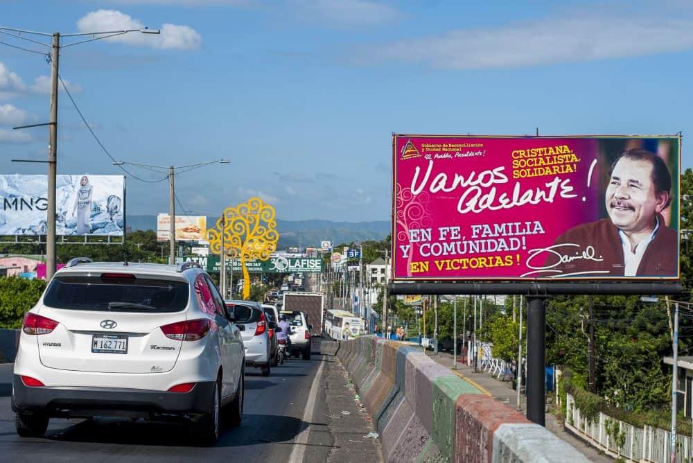 Nicaragua President Daniel Ortega billboard