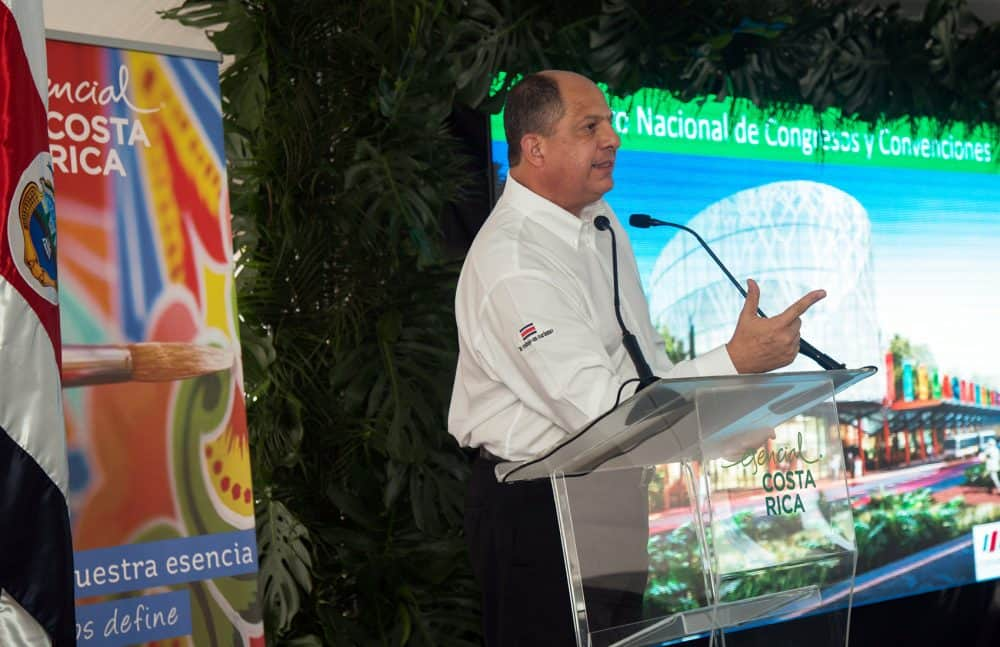 President Luis Guillermo Solís presents Costa Rica convention center on Dec. 10, 2015