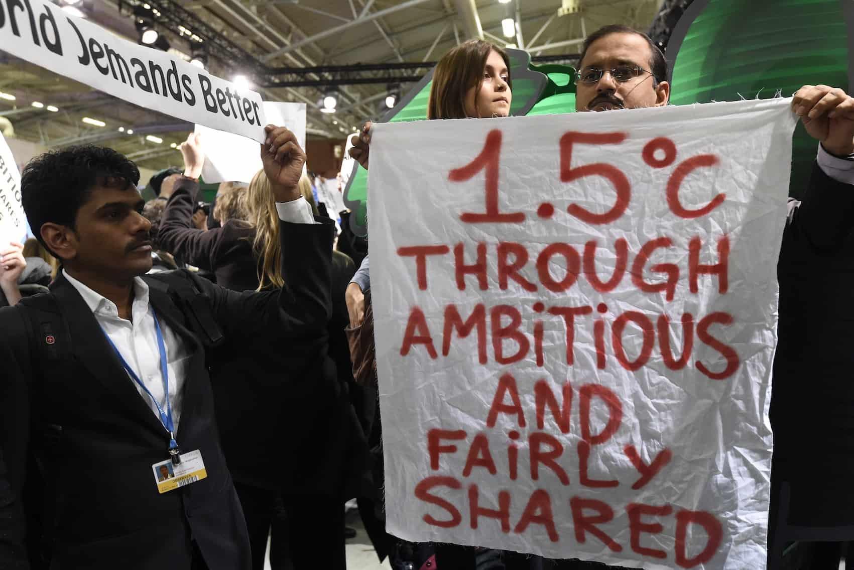 UN climate pact: 1.5 C poster
