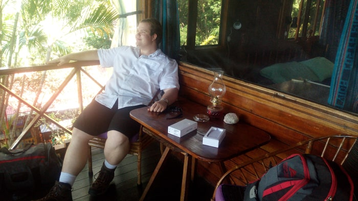 Jordan relaxes on our patio at Pacific Edge in Dominicalito.