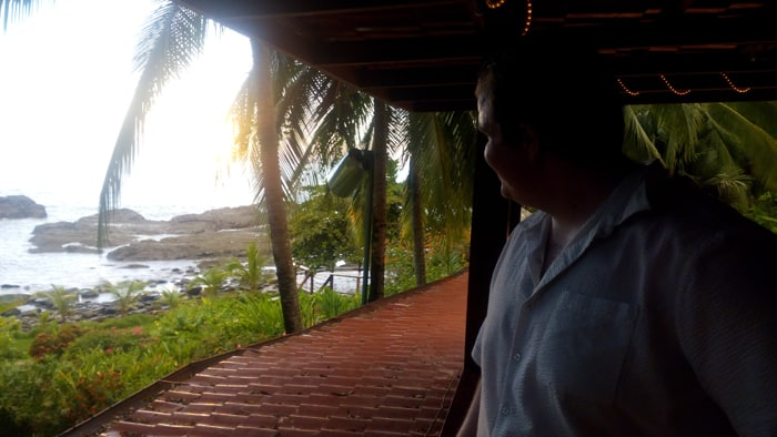 Jordan takes in the view at the Por Que No? restaurant in Dominical.