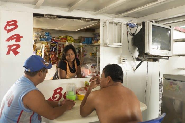 bar on Amazon River boat