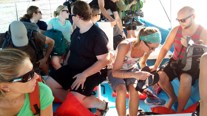 Visitors to Corcovado prepare for disembarking after a 70-minute boat ride from Drake Bay.