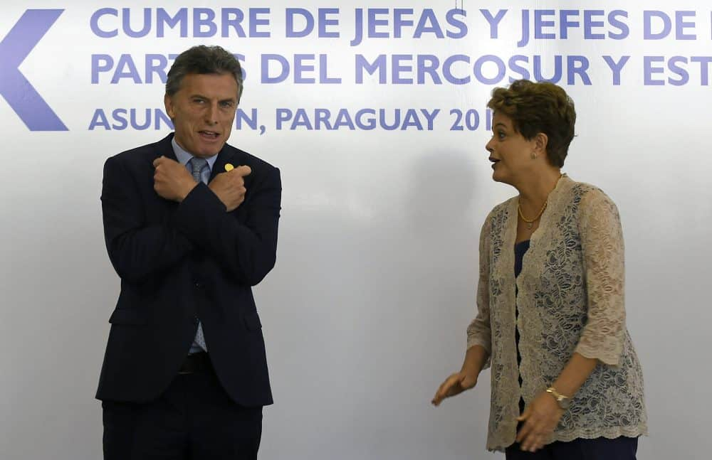 Mauricio Macri and Dilma Rousseff at Mercosur