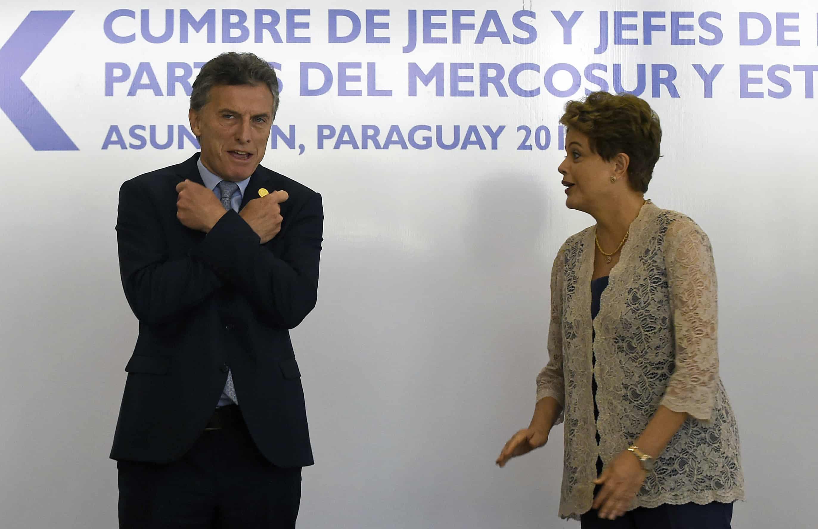 Mauricio Macri and Dilma Rousseff at Mercosur