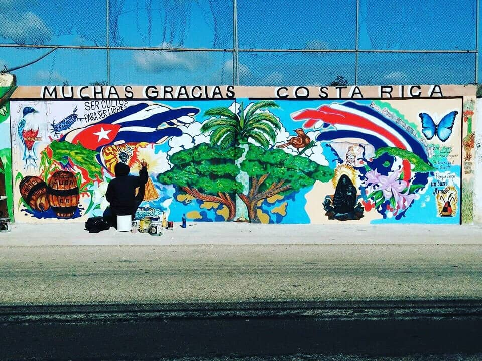 mural painted by Cuban migrants