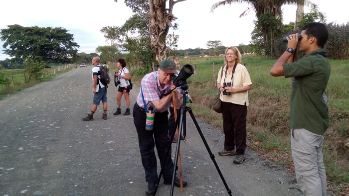 Bird-watching on the road north of Matapalo, with guide Guillermo Mulder at right.