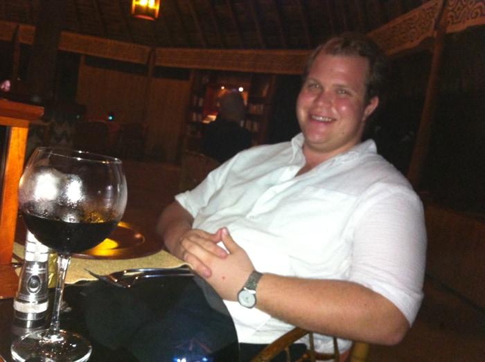 Jordan awaiting dinner at Lapa Ríos: No complaints.