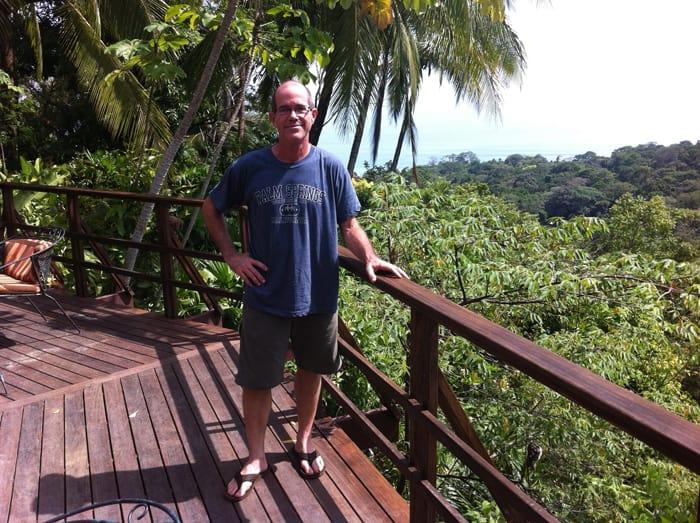 The author on a deck at Lapa Ríos.
