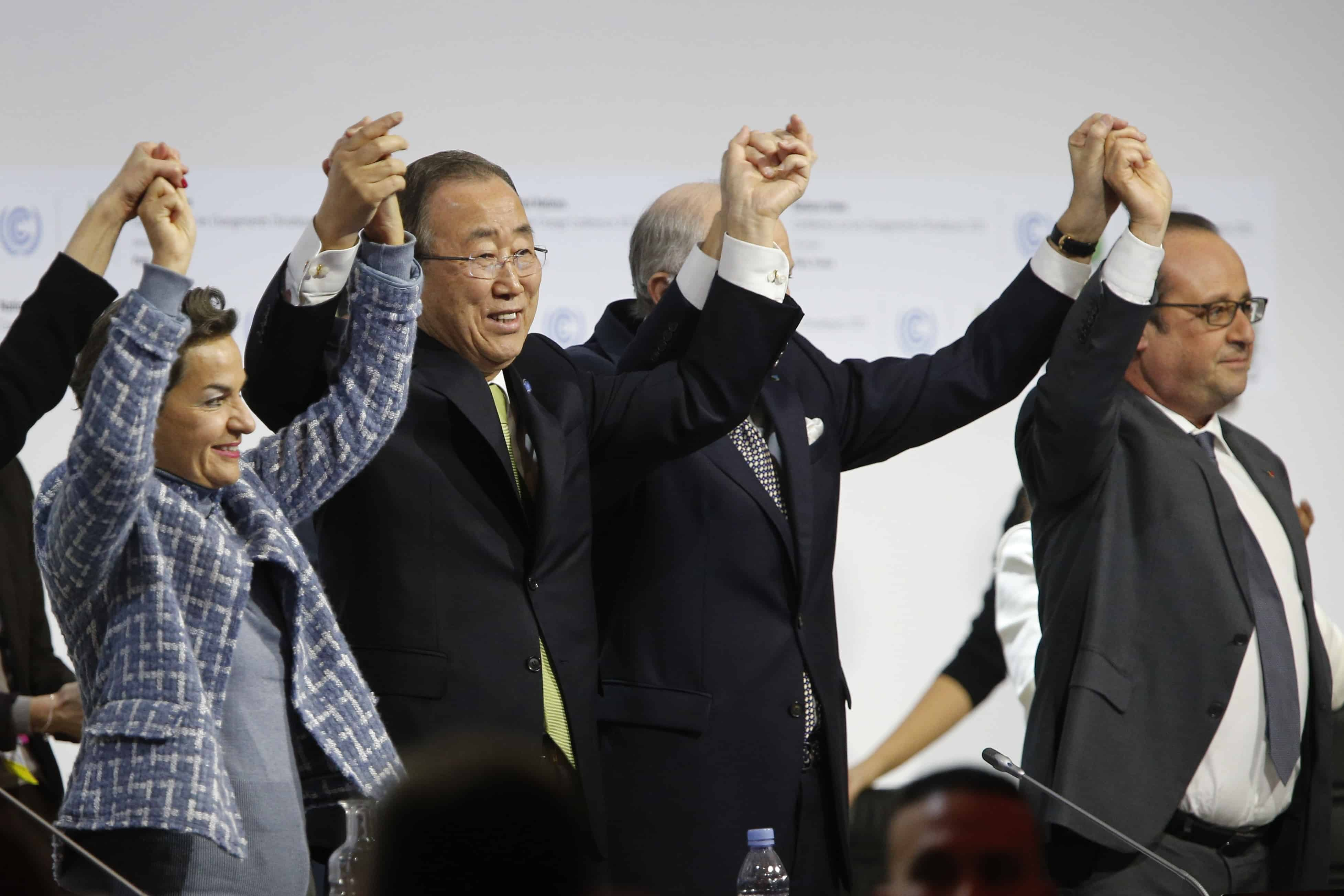 Paric climate talks: Christiana Figueres, Ban Ki Moon, Laurent Fabius and Francois Hollande