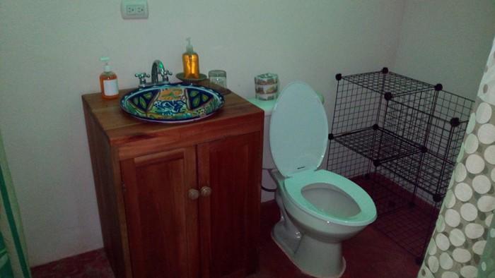 Bathroom inside tent.