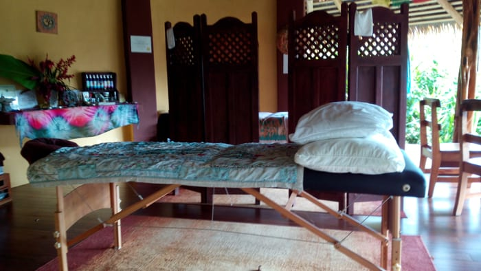 Massage table in spa.