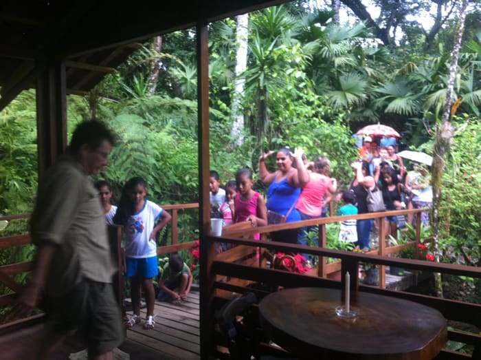 Jürgen Stein welcomes visitors from the town of Bananito.