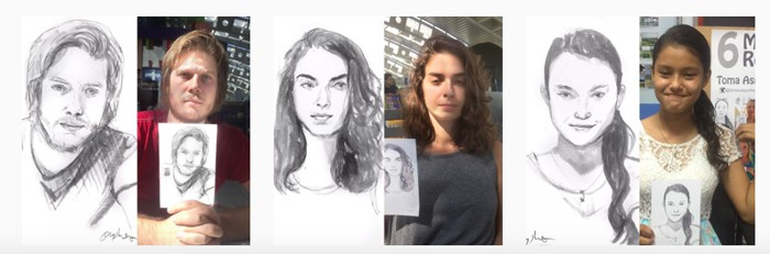 Portraits drawn at the airport.