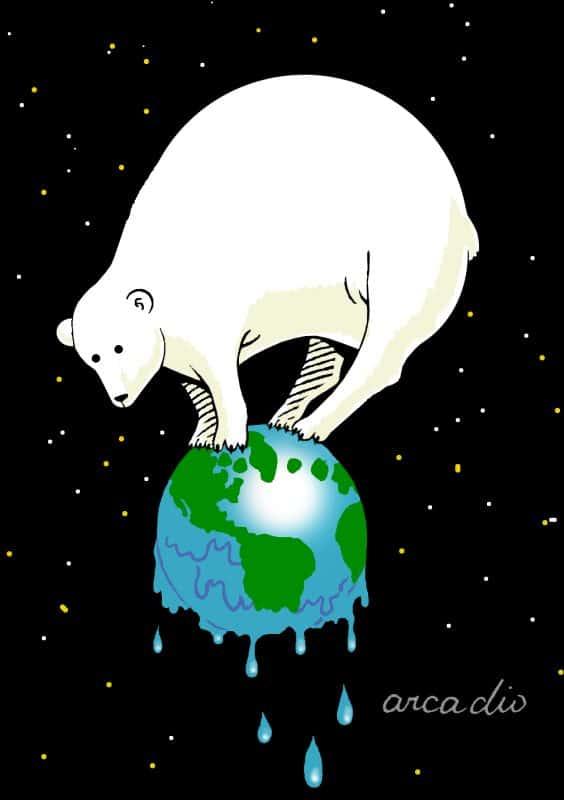 polar bear on melting globe