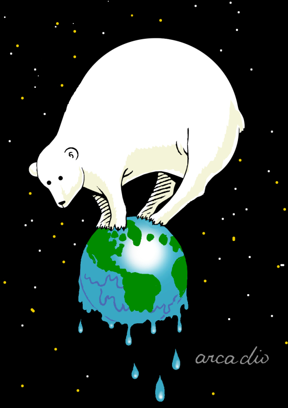 polar bear on melting globe