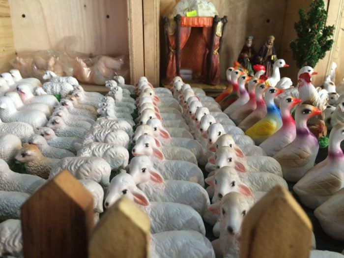 Ceramic sheep for nativity scenes