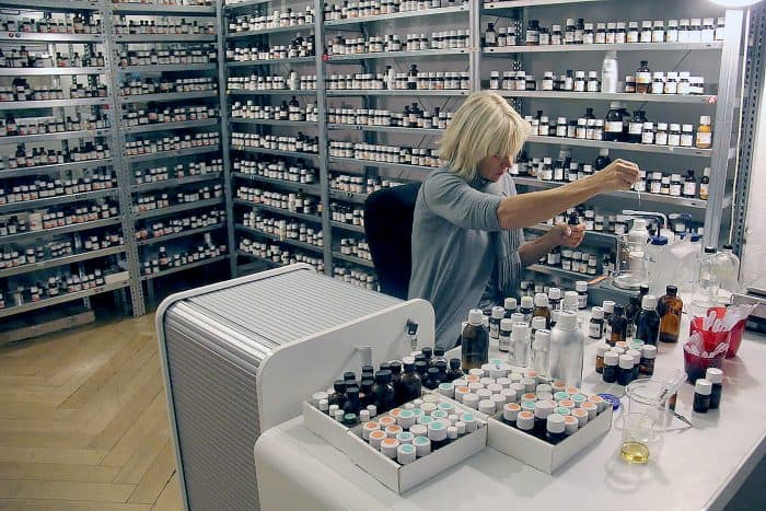 Sissel Tolaas working on her odor collection. [Courtesy of FID]