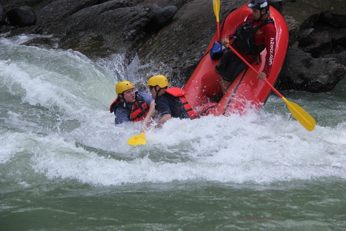 "The point of no return: Headed overboard at the ""Gringo Eater"" rapid on the Savegre River."