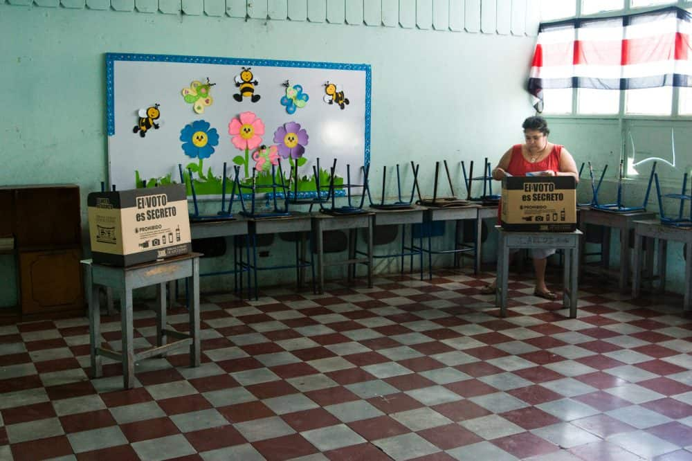A woman votes in Costa Rica elections