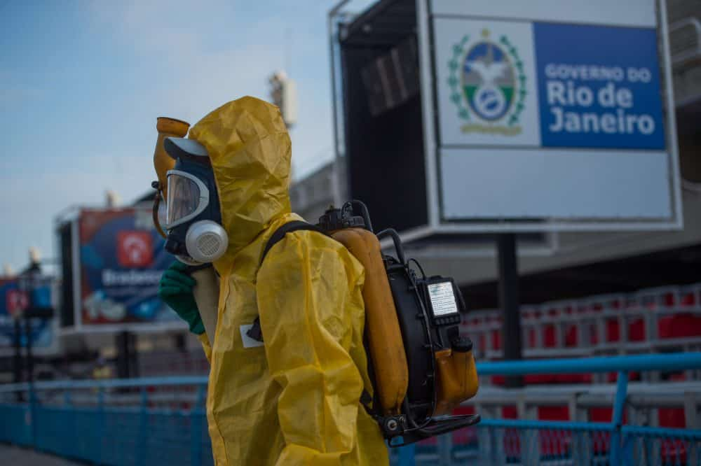 A municipal worker fumigates in Rio de Janeiro to fight the Zika virus.