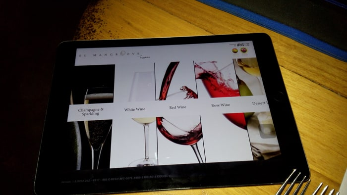 Something you don't see every day: A wine list delivered to the table on an iPad.