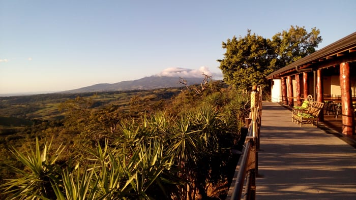 View toward Rincón de la Vieja Volcano from the lookout bar at Buena Vista Lodge.