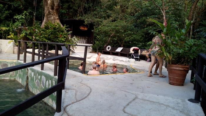 A group of Dutch visitor enjoys the Buena Vista hot springs.