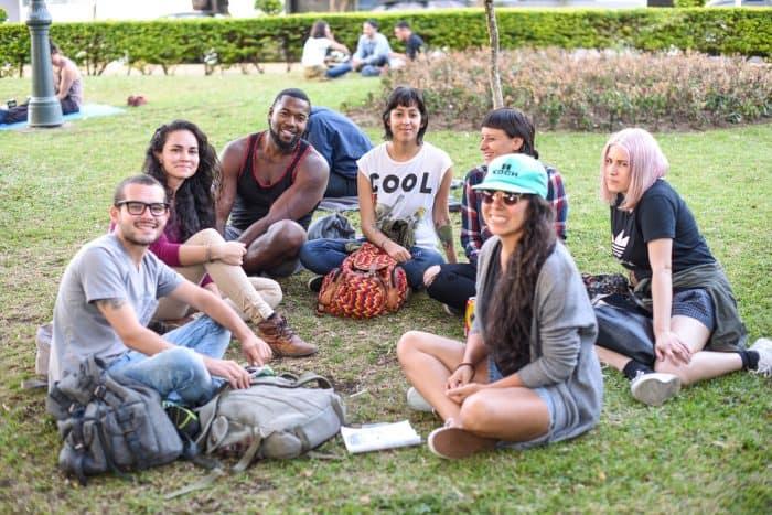 Regina Alpízar and Silvia Granados pose with their friends. Alberto Font/The Tico Times