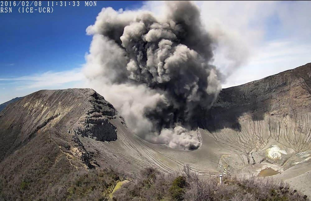 Ash, gas explosion at Costa Rica's Turrialba Volcano, on Feb. 8, 2016.