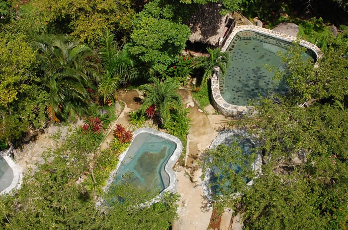 Hot springs at Cañon de la Vieja Lodge, viewed from a zipline.