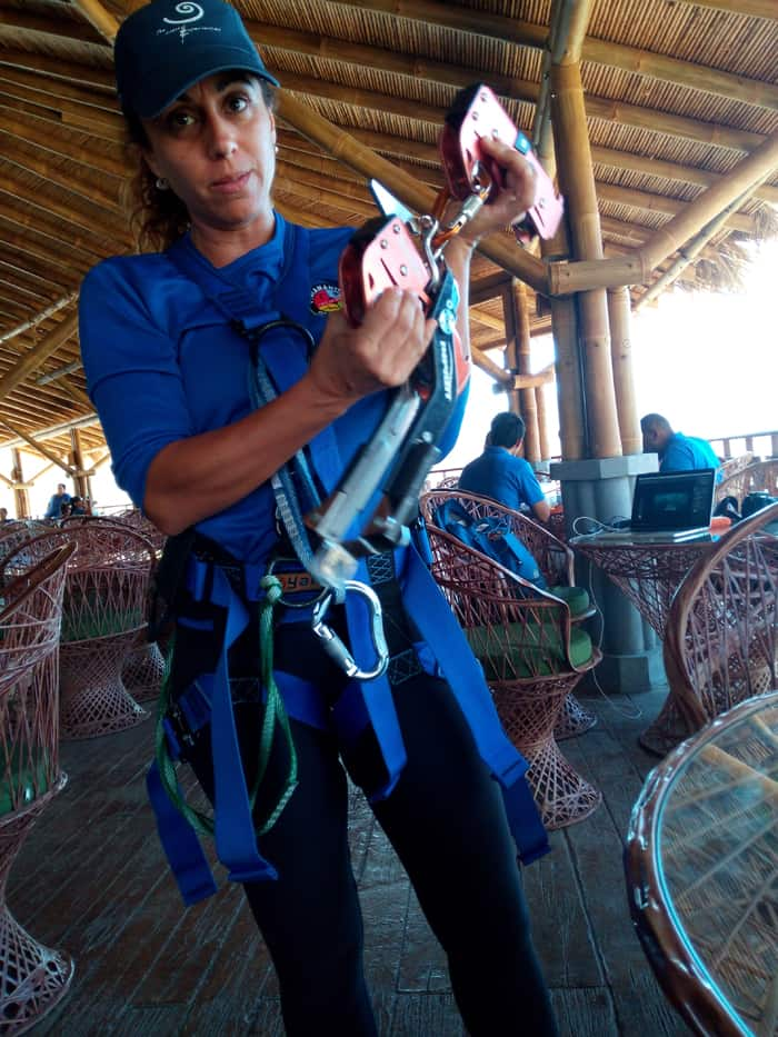 Luciana Smania, Diamante Eco Adventure Park manager, explains how the braking system works.